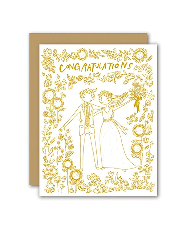 wedding congratulations gold foil card