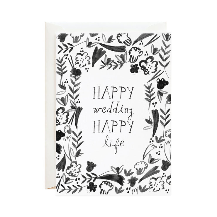 happy wedding fleurs card