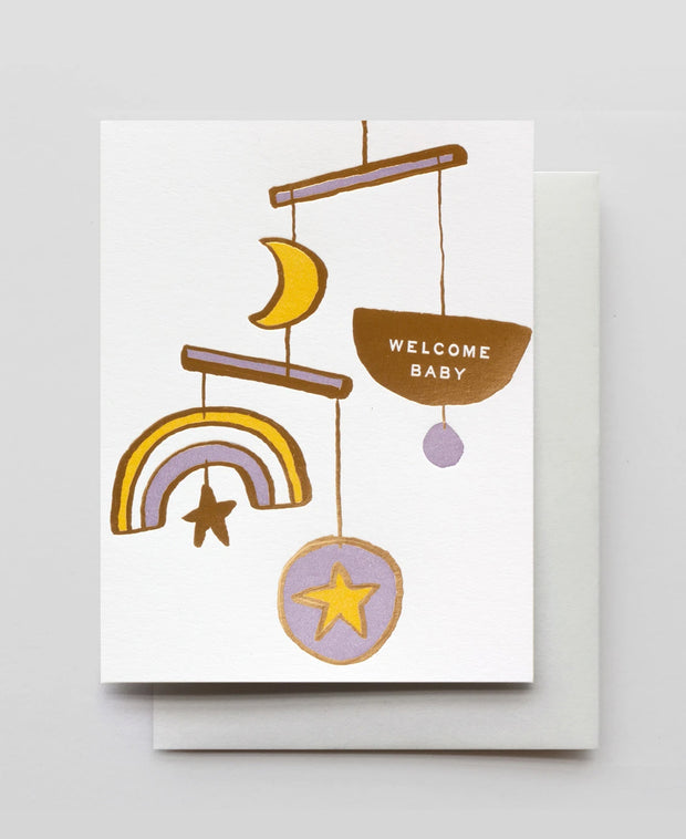 welcome baby mobile gold foil card