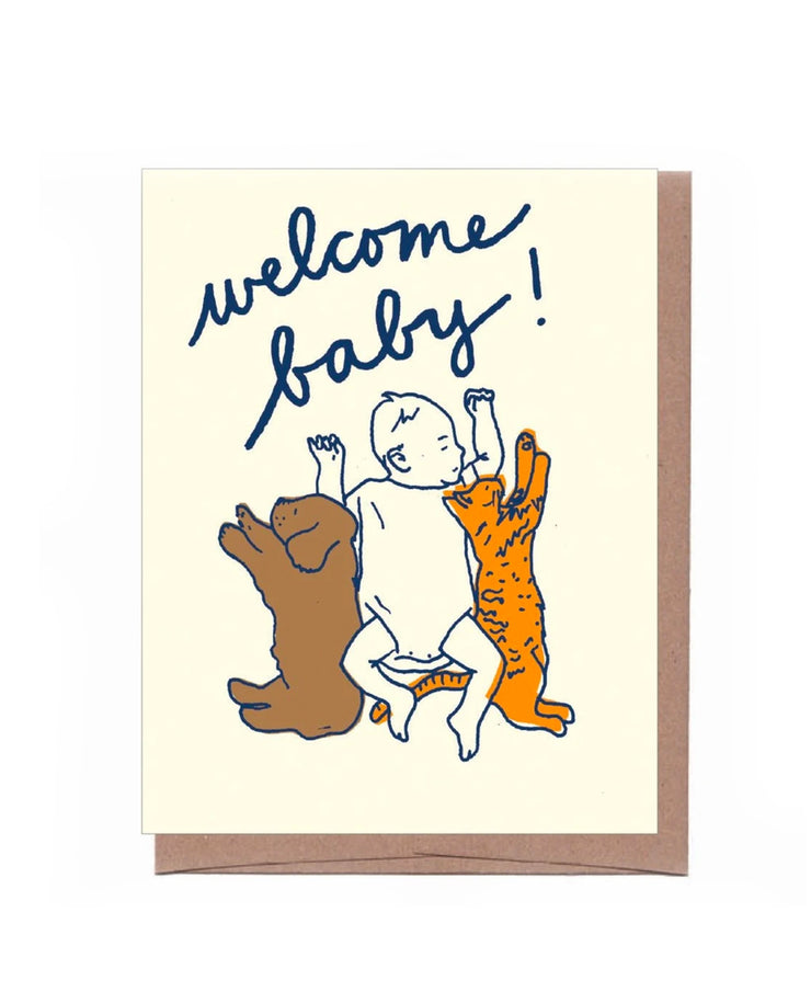 welcome baby with pets card