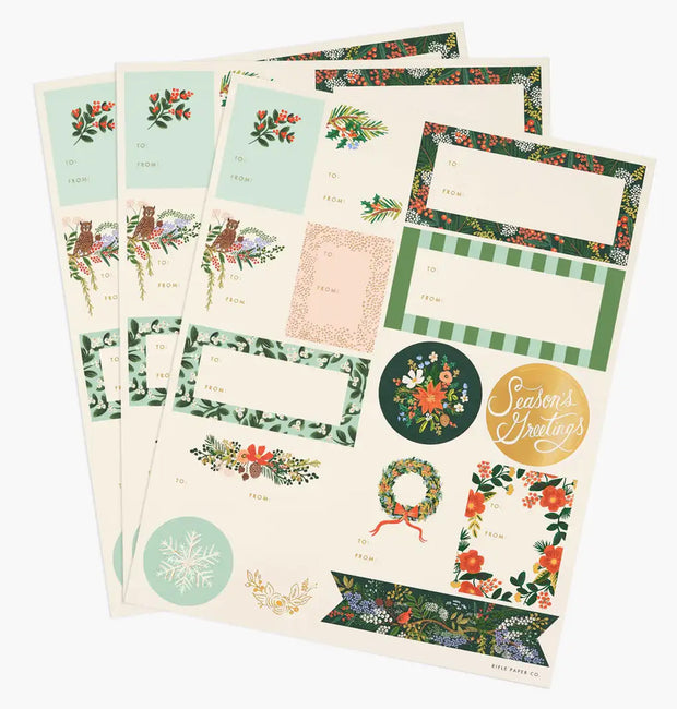winter floral stickers & labels - set of 3