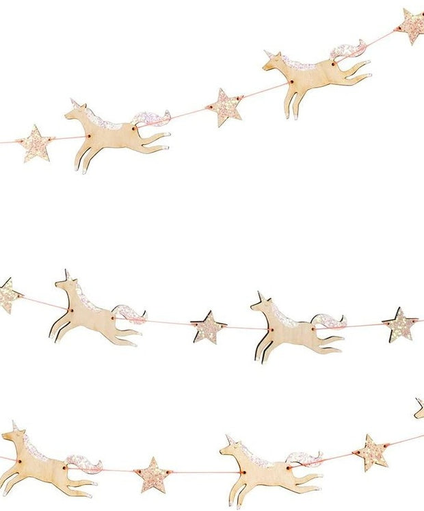 wooden glitter unicorn garland