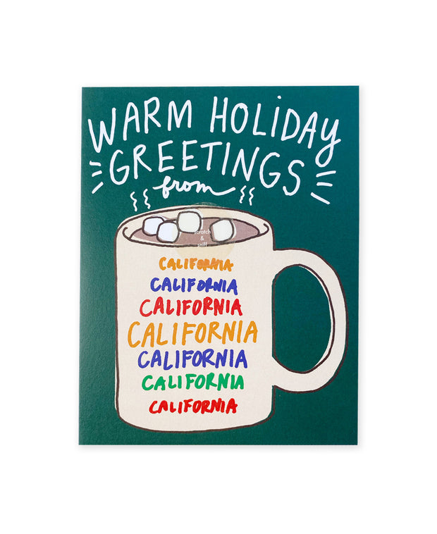 scratch & sniff california mug holiday card