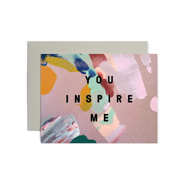 you inspire me hand-painted card