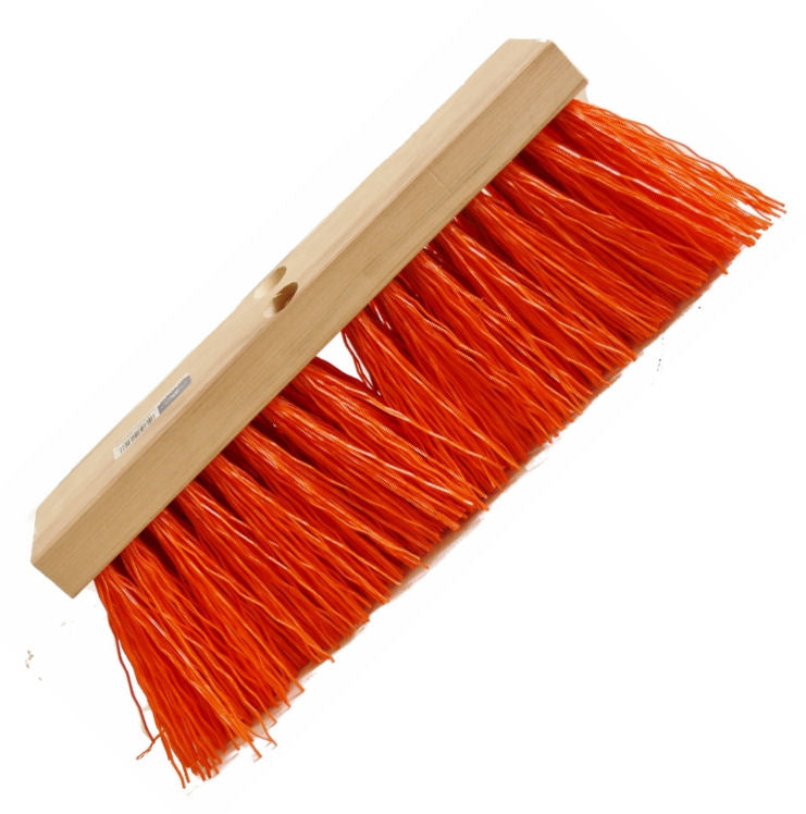 "16"" ORANGE POLY STREET BROOM HEAD"