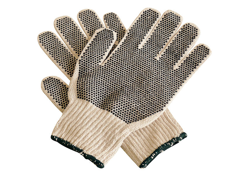 STRING KNITTED PVC DOT GLOVES - 12 PACK