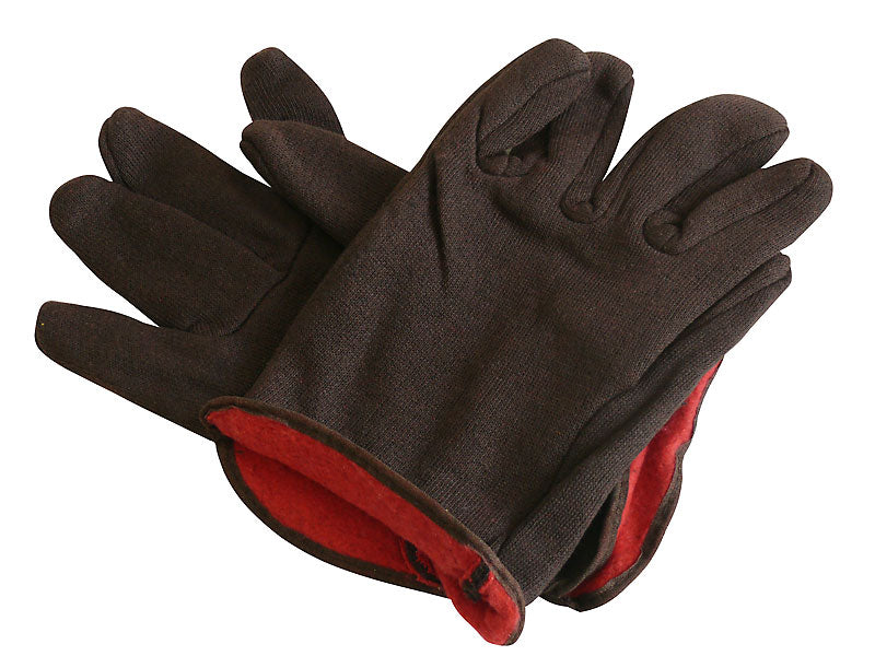 BROWN LINED JERSEY GLOVES - 12 PACK