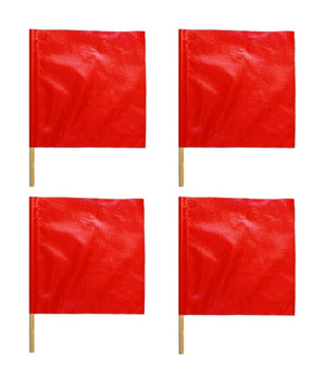 "4 Pack Warning Flags 18"" X 18""  Red Orange Vinyl"