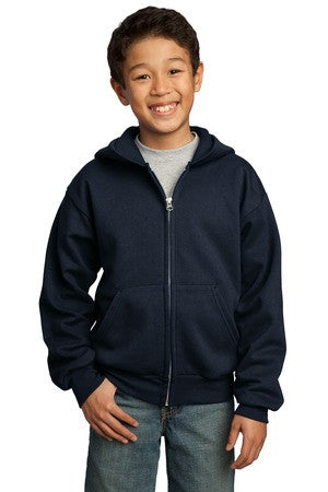 Port & Company® - Youth Full-Zip Hooded Sweatshirt.  PC90YZH