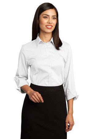 Red House® Ladies 3/4-Sleeve Non-Iron Pinpoint Oxford.  RH45