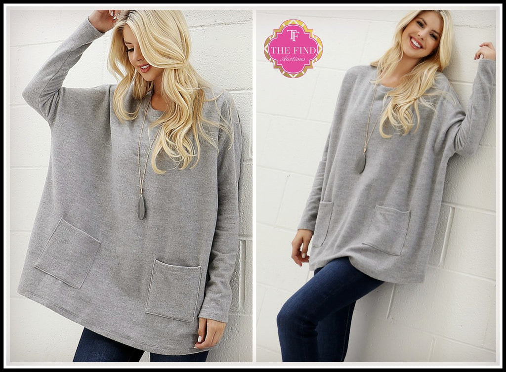 Elise Oversized Top in Heather Gray