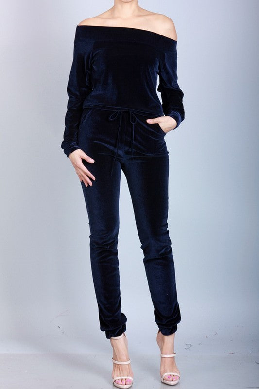 Hatcher Velvet Jumpsuit in Navy