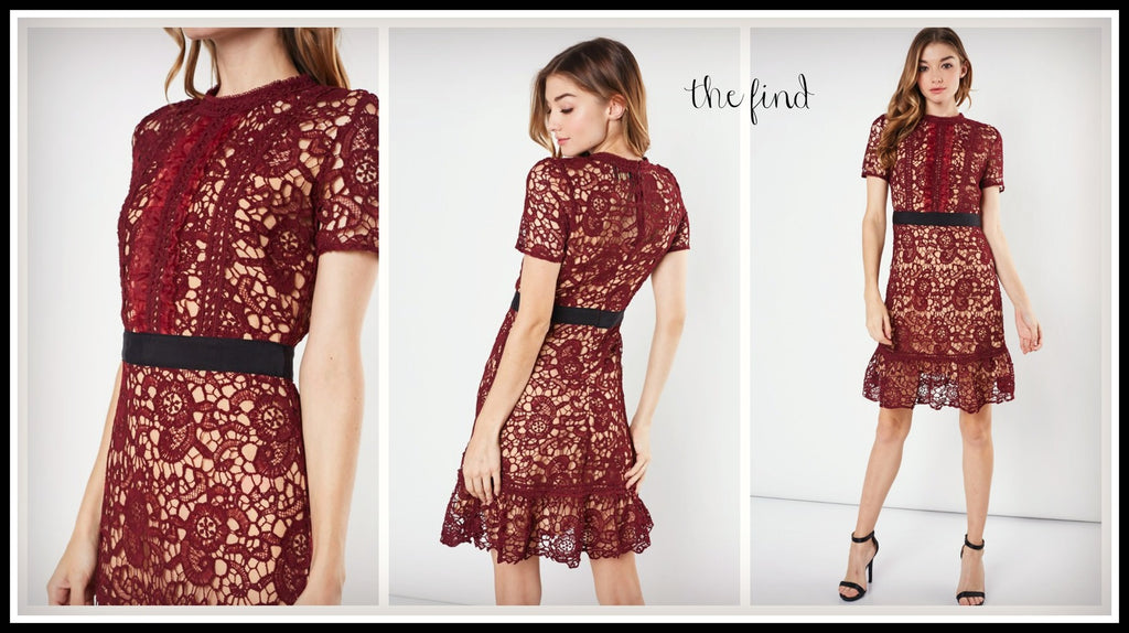 Manning Lace Dress in Wine