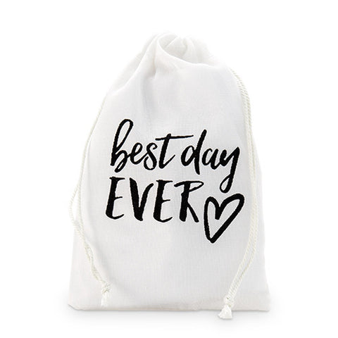 """best day ever"" Print Muslin Drawstring Favor Bag - Favour Bags - Wedding Favours"