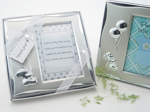 """Bear's Best Wishes"" Brushed Photo Frame in Gift Box - Photo Coaster / Frames - Wedding Favours"
