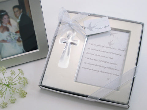 """Bless this Day"" Cross Photo Frame Favor in Gift Box - Religious Favours - Wedding Favours"