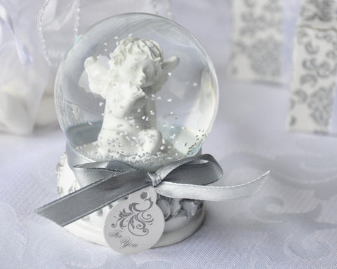 """Angel Kisses"" Cherub Snow Globe Favor - Religious Favours - Wedding Favours"