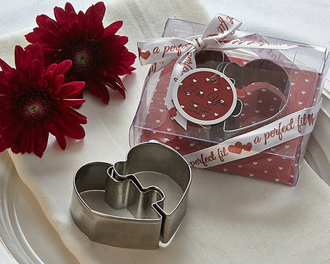 """A Perfect Fit"" Heart Puzzle Cookie Cutters - Practical Favours - Wedding Favours"