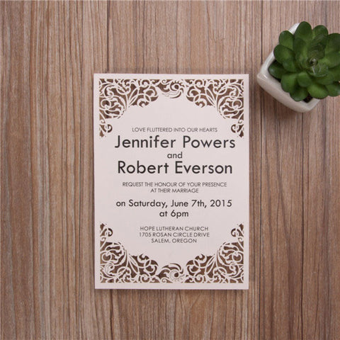 Classic Swirls Flat Laser Cut Wedding Invitation - Blush Pink