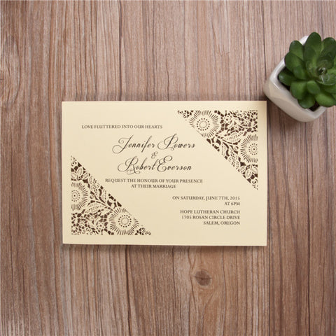 Dazzling Flower Simple Laser Cut Wedding Invitation - Yellow