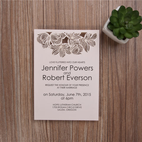 Elegent Wedding Invitations With Top Laser Cut Flowers - Blush Pink