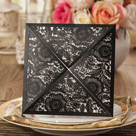 Charming Floral Laser Cut Wedding Invitation - Black Closed View