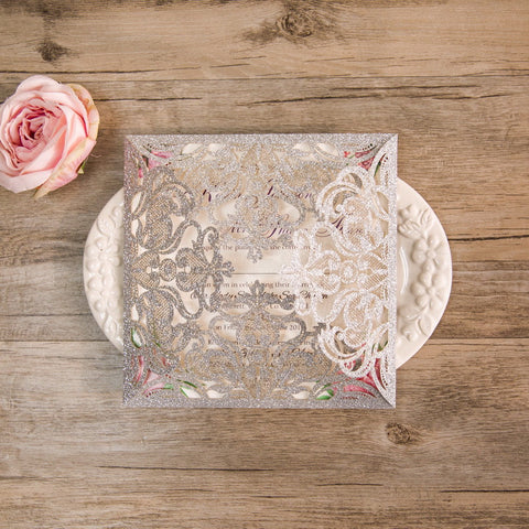 Elegant Floral Laser Cut Wedding Invitation - Champagne