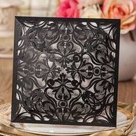 Amazing Floral Laser Cut Wedding Invitation - Black Closed View