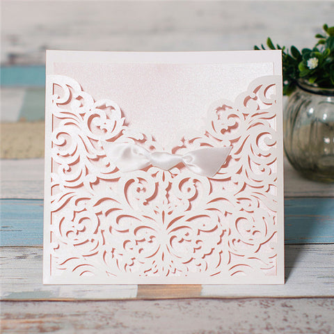 Elegant White Laser Cut Ribbon Bow Wedding Invitation  - White
