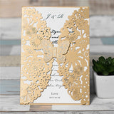 Amazing Butterfly Floral Laser Cut Wedding Invitation