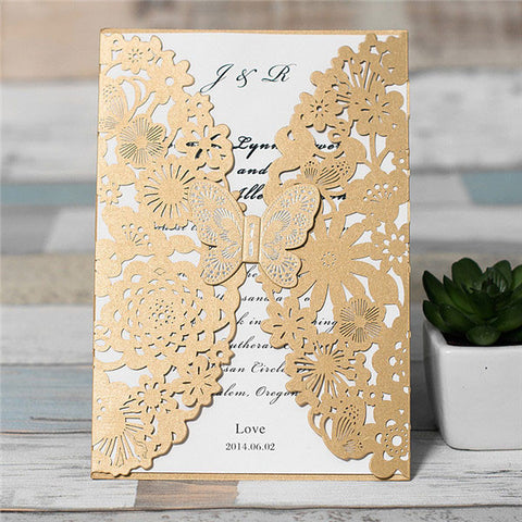 Amazing Butterfly Floral Laser Cut Wedding Invitation - Brown