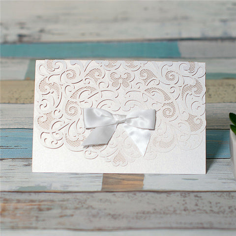 Elegant Pocket Fold Laser Cut Wedding Invitation Card With Bow - White