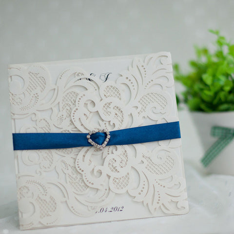 Charming Laser Cut Wedding Invitation - White