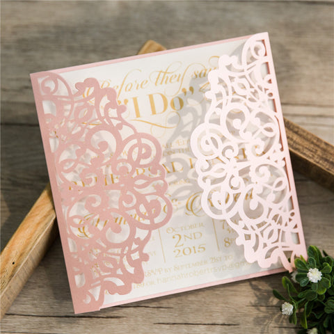 Elegant Floral Laser Cut Wedding Invitation - Blush Pink