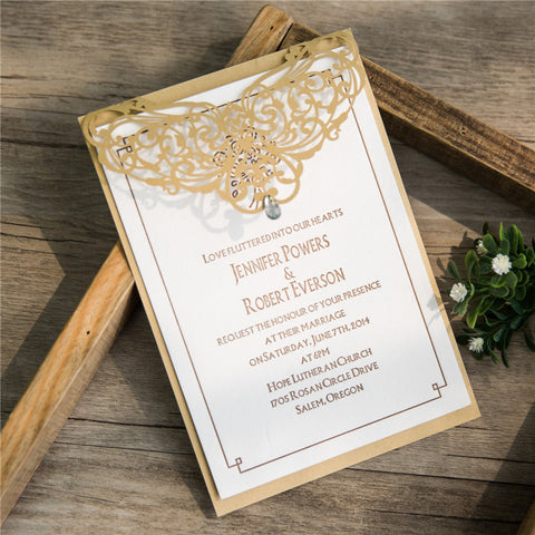 Elegant Pearl Laser Cut Wedding Invitation - Gold