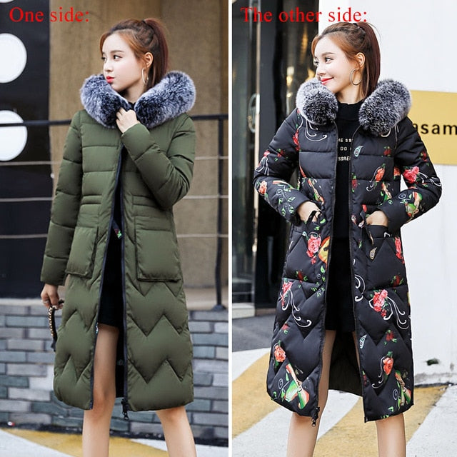 Double Sided Winter Jacket with Fur