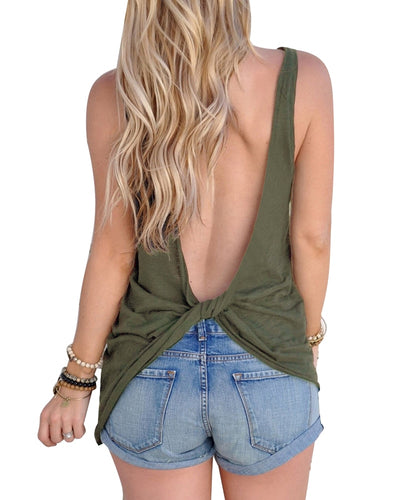 Sexy Sleeveless Backless Shirt Knotted Tank Top