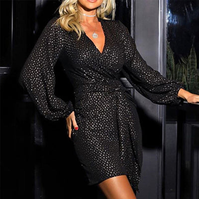 Sequin Wrap Bodycon Dress