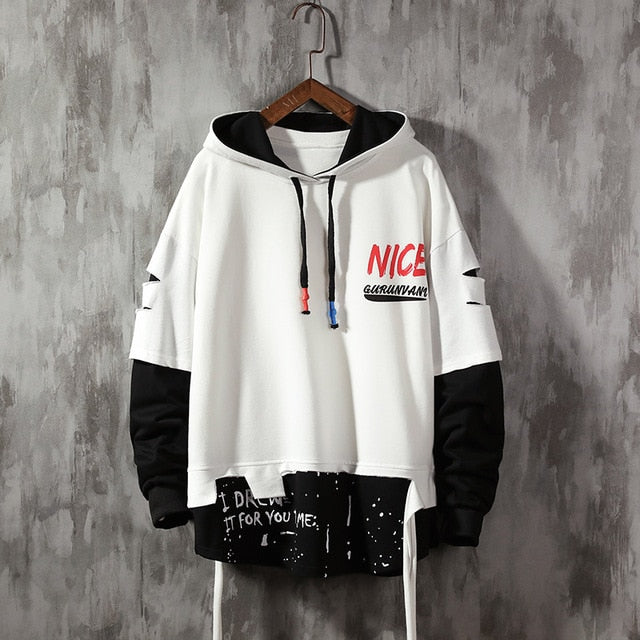 Men Broken Hoodies Autumn