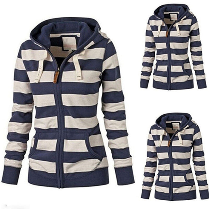 Warm Jacket Striped Hoodie
