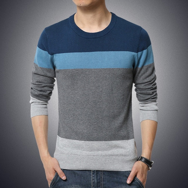 Casual Men's Sweater O-Neck Striped Slim Fit
