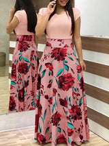 Sleeve Floral Print Patchwork Slim Bodycon Dress