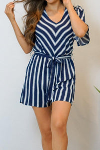 Seaside Blue and White Striped Romper - Evening Primrose Boutique