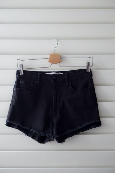 Celebrity pink black fray hem shorts sizes 1-11 FOXXI Fashion Boutique