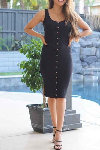 Libby Black Ribbed Button Midi Dress-Dress-Evening Primrose Boutique