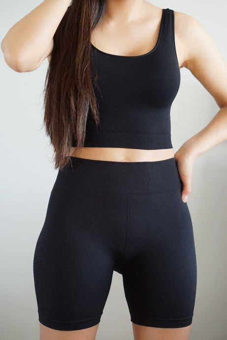 Dahlia Black Crop Top and Highwaisted Biker Shorts Set-Set-Evening Primrose Boutique