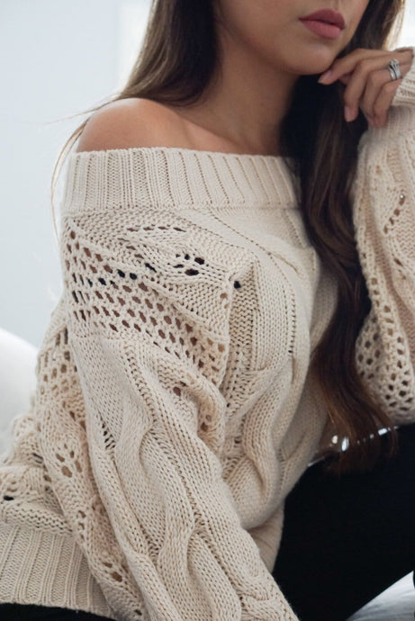 Cuddle Vanilla Off the Shoulder Sweater with Puff Sleeves - Evening Primrose Boutique