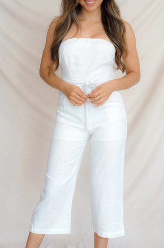 Beachfront White Strapless Tie Front Jumpsuit - Evening Primrose Boutique