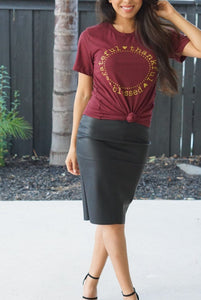 Grateful, Thankful, Blessed Maroon T-shirt-T-Shirt-Evening Primrose Boutique