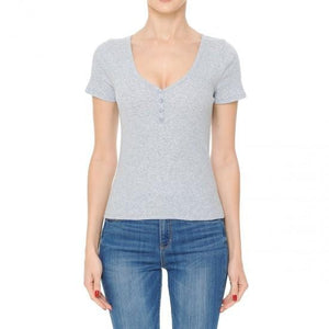 Everyday Gray Cotton Shirt-Shirt-Evening Primrose Boutique